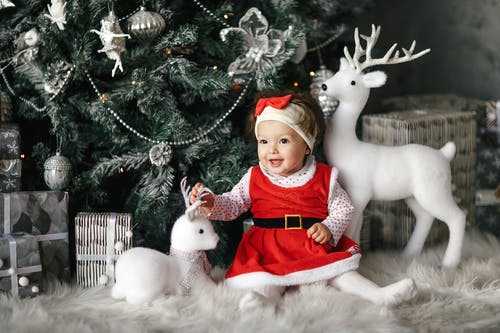 Baby Girl Wearing Santa Dress Sitting Beside Christmas Tree
