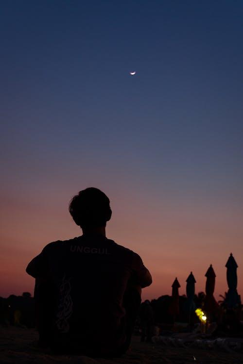 Gratis stockfoto met blauwe uur, omtrek, strand zonsondergang, zonsondergang