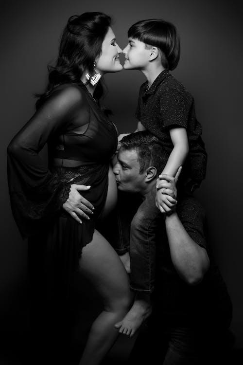 Monochrome Photo Of Family Picture