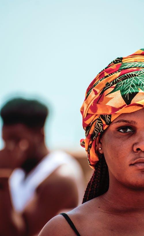 Woman Wearing Colorful Turban