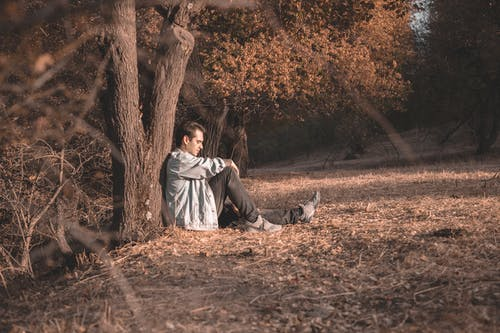 Man Sitting Beside Tree