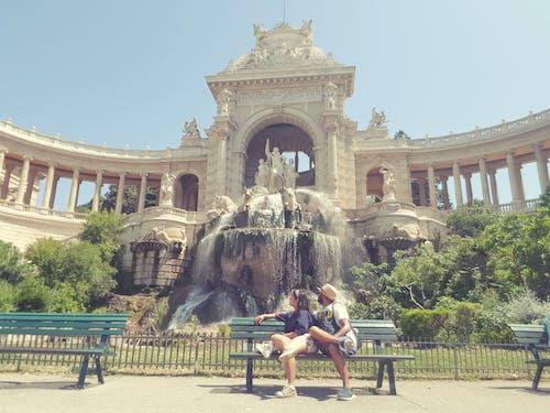 Free stock photo of asian couple, fountain, palais le champ