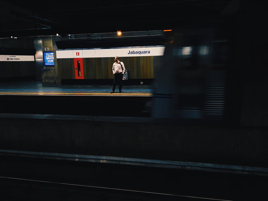 Man standing in subway platform