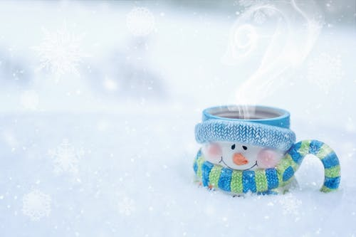 Coffee in Blue and White Snowman Ceramic Mug
