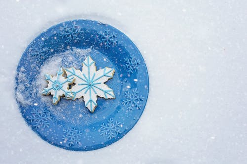 Blue and White Snowflake Cookies