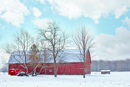 Free stock photo of background, barn, cold, landscape