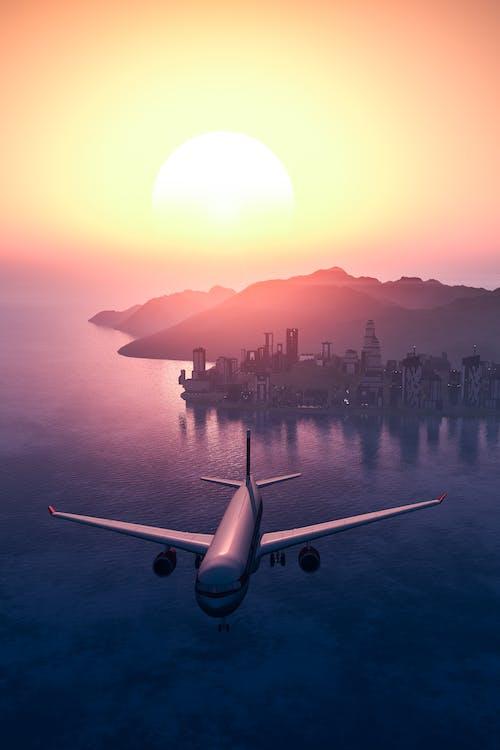 aigua, alba, aviació