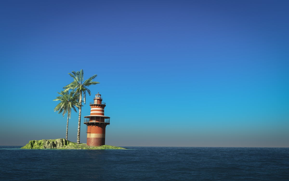 Lighthouse Beside Palm Tree on Islet