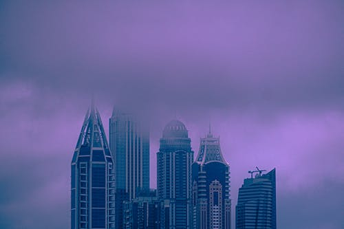 Concrete Buildings Covered with Fog