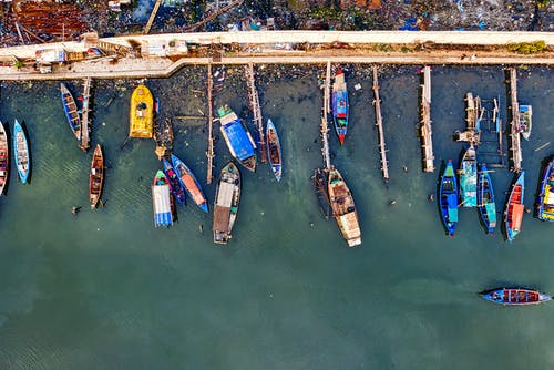 Areal Photo of Boats Near Port