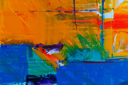 Yellow Green and Blue Abstract Painting