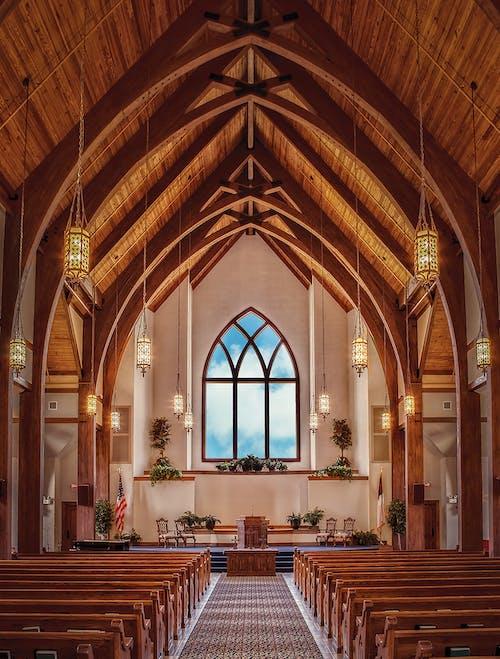 iç, iç dekorasyon, katedral, kemer içeren Ücretsiz stok fotoğraf