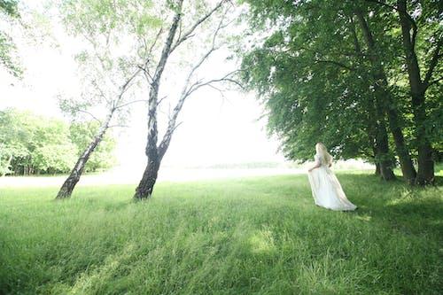 Woman Walking Behind Trees