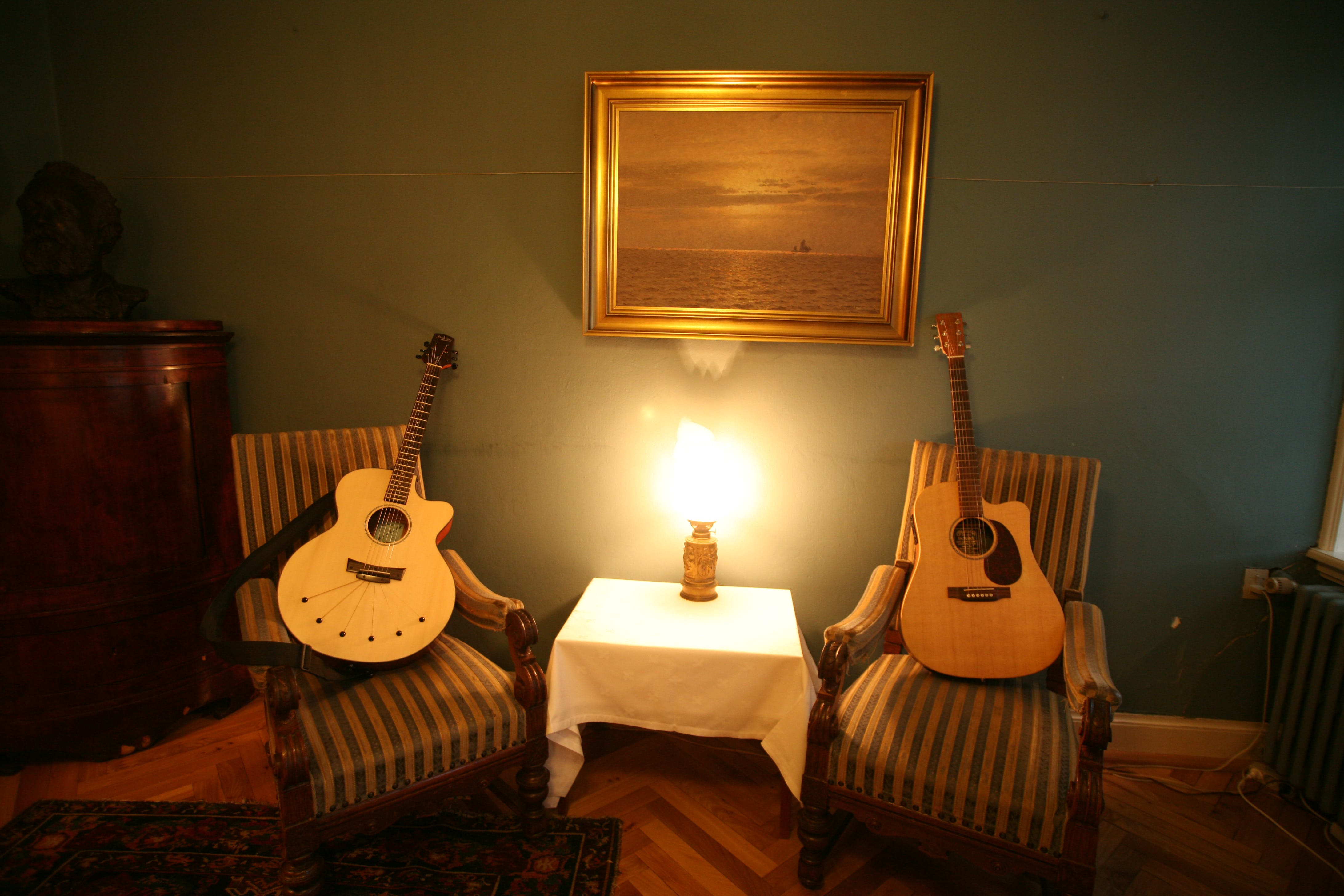 Two Brown Acoustic Guitars on Chairs