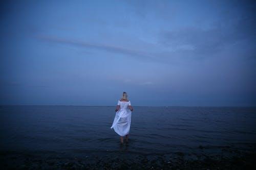 Foto d'estoc gratuïta de adult, aigua, alba, cel