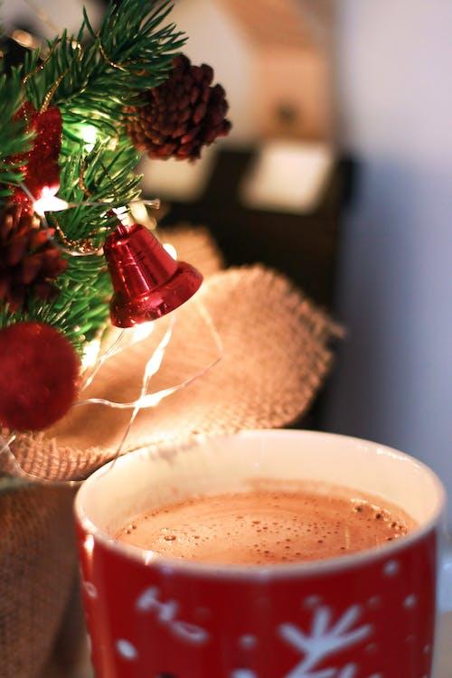 Imagine de stoc gratuită din brad de crăciun, ciocolată caldă, decorațiuni de Crăciun, fundal de crăciun