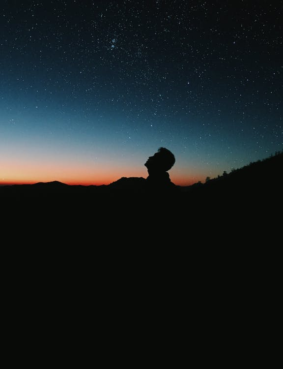 Silhouette Photo of Person Under Starry Sky