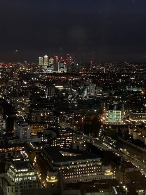 고층 건물, 도시, 런던, 밤의 무료 스톡 사진