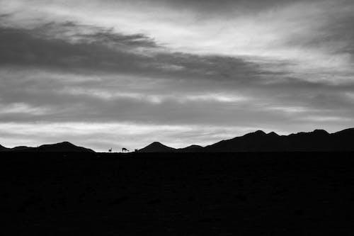 Free stock photo of black and white, mountain, nature, sky