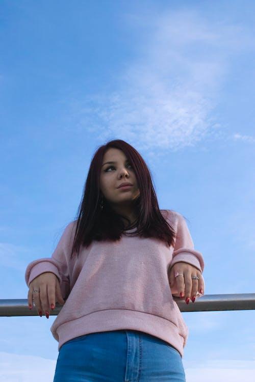 Free stock photo of #girl #sky #blue #bluesky #redgirl #redhair #dynam