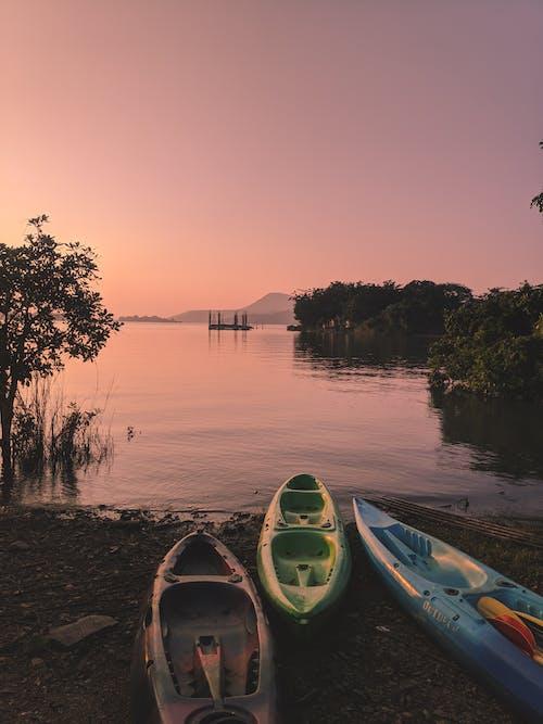 Three Kayaks on Shore