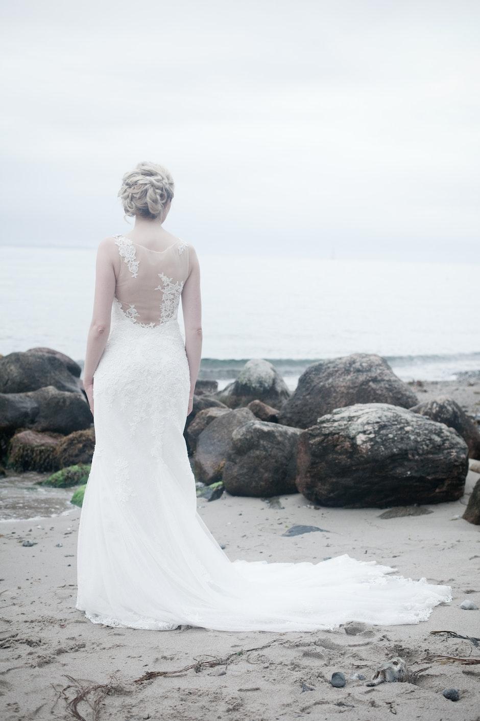 alone, beach, bride