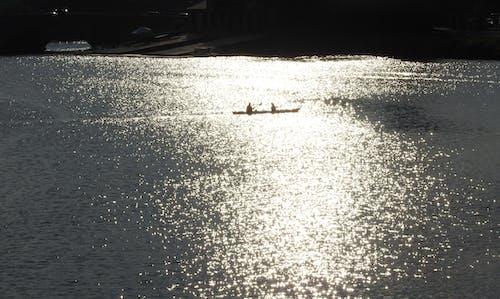 คลังภาพถ่ายฟรี ของ การเดินเรือ, ตะวันลับฟ้า, เรือแคนู, แม่น้ำ