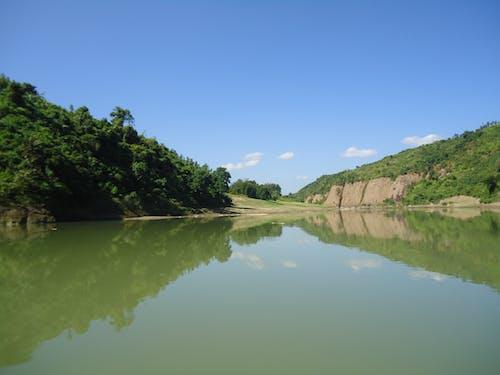 Free stock photo of blue sky, green water lake
