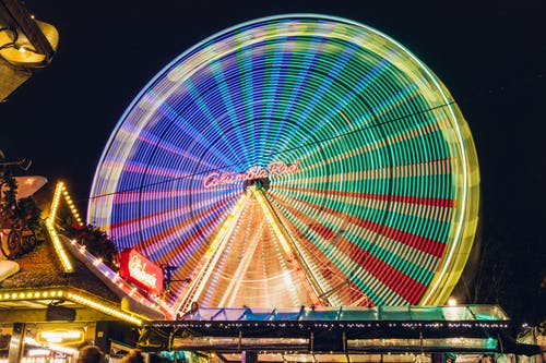 Free stock photo of amusement park, amusement ride, big wheel, blurred lines