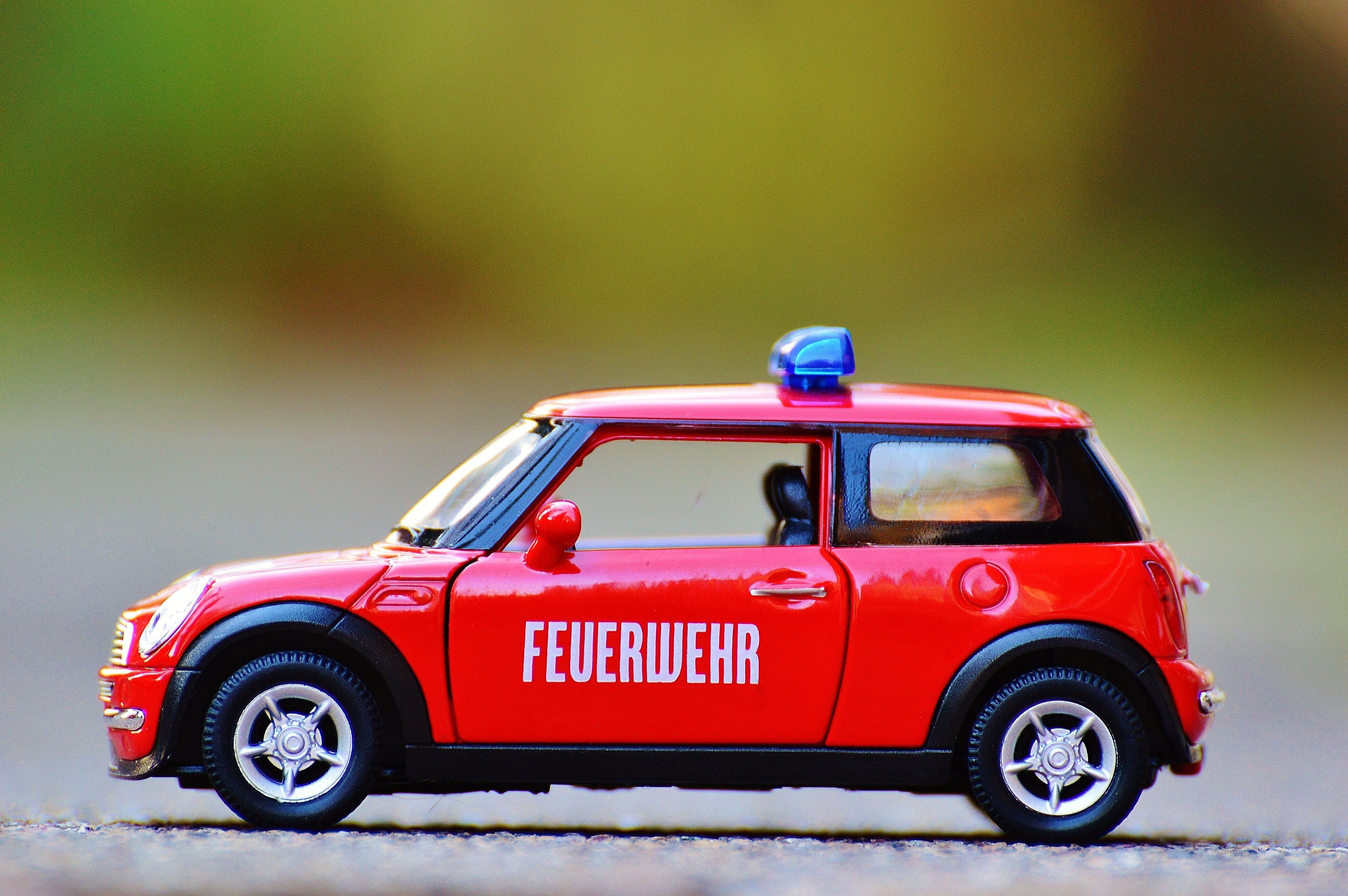 Red Diecast Mini Cooper Police Car