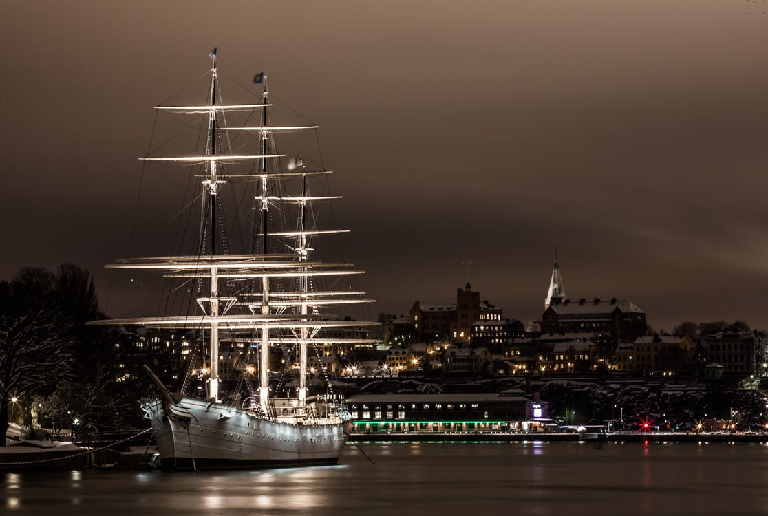 White Ship on Port at Night