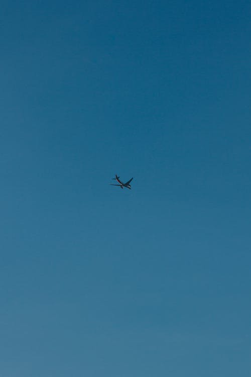 Airplane in Mid Air Under Blue Sky