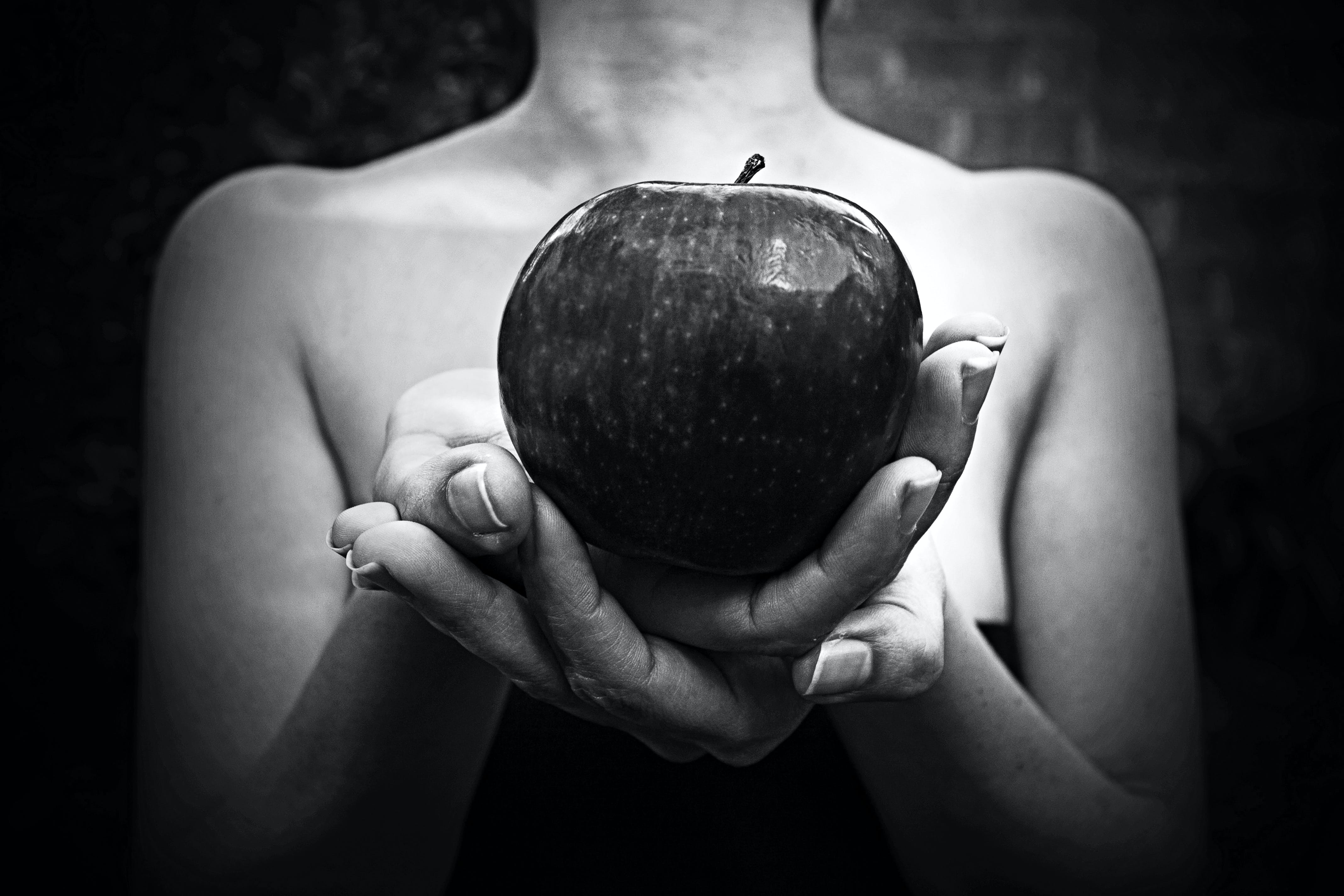 apple, black and white, woman