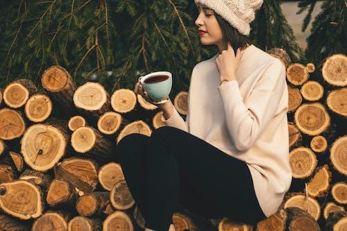 Gratis stockfoto met aantrekkelijk mooi, boomstammen, drank, drinken