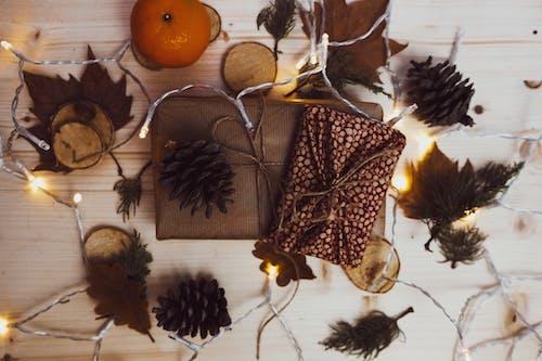 冷杉, 木桌面, 松果, 燈光 的 免費圖庫相片