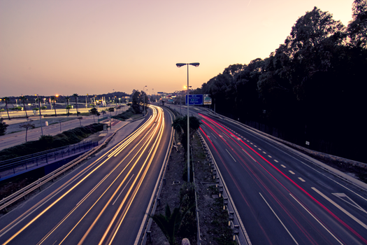 Free stock photo of light, sunset, highway, trail of light