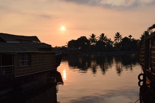 Free stock photo of backwaters, evening, houseboat