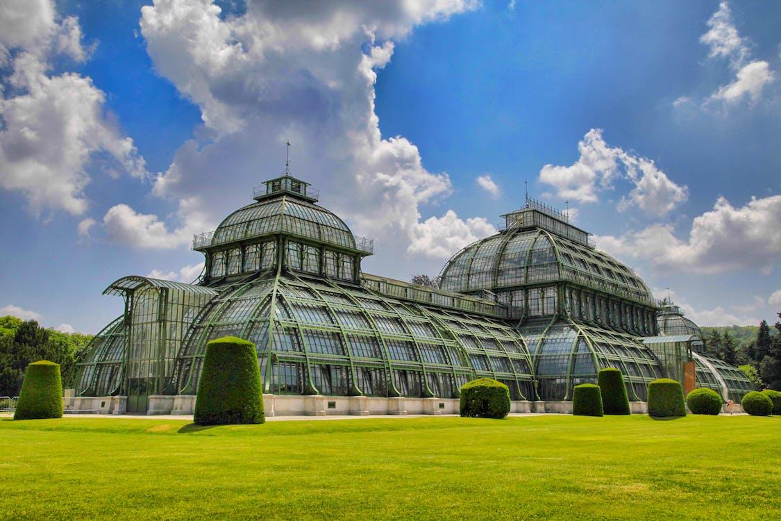 arkitektur, drivhus, himmel