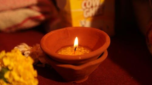 Free stock photo of candle, diya, still life