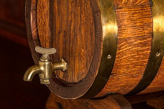 Brass Frame Brown Wooden Barrel