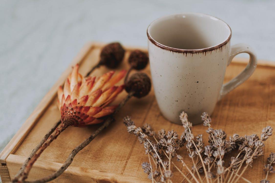 Ceramic Mug on Wooden Tray