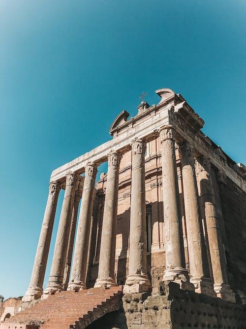 Low-angle Photography Concrete Columns