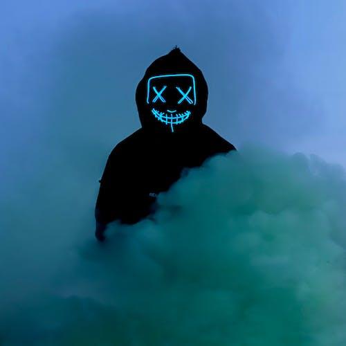 Free Stock Photo Of 3d Neon Hacker Mask Color Smoke Bombs Halloween