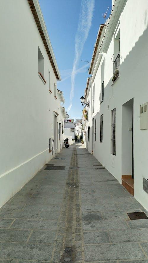 People Walking on Pathway Between White Concrete Buildings