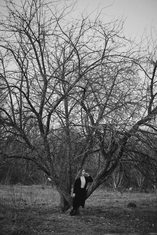 Grayscale Photography of Woman Standing and Leaning on Bare Tree