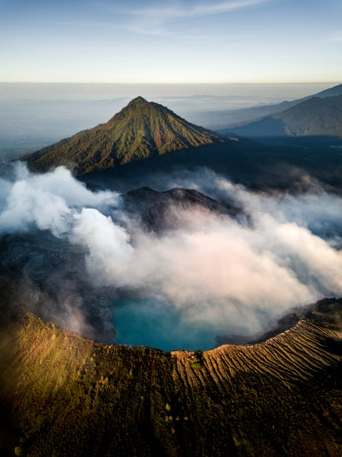 Aerial View Photography of Smoking Mountain