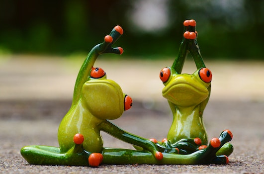 Green Ceramic 2 Frog Figurine Doing Exercise