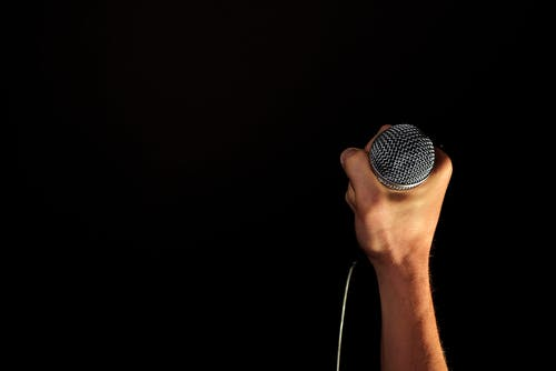Person Holding Microphone