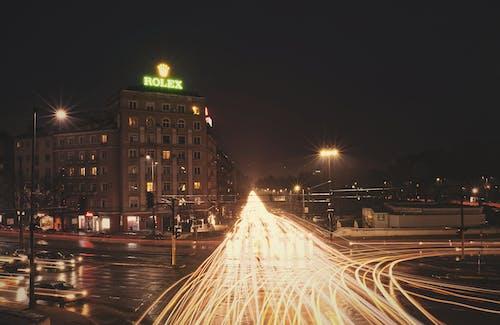 Immagine gratuita di lampi di luce, lunga esposizione, ora di punta, paesaggio urbano