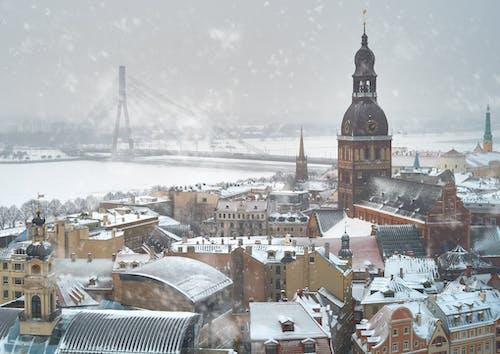 Darmowe zdjęcie z galerii z centrum miasta, łotwa, ryga, śnieg